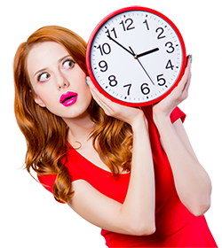 250px woman with big clock red dress shutterstock_1038522601